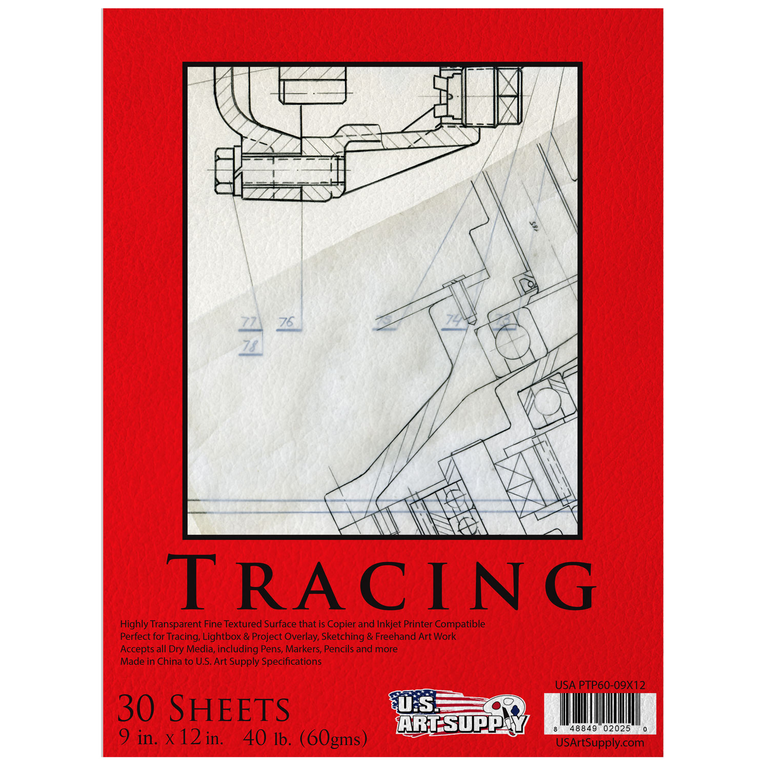 "9"" x 12"" Medium Weight Fine Textured Premium Tracing Paper Pad 40lbs 30-Sheets"