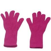 Fuchsia Plain Color Medium Length Ribbed Cuff Gloves