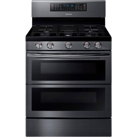 NX58K7850SG 30 Freestanding Gas Range with 5.8 cu. ft. Oven Capacity  Flex Duo convection fans  Soft Close Dual oven door  Self-cleaning and Wi-Fi Connection in Black Stainless Steel