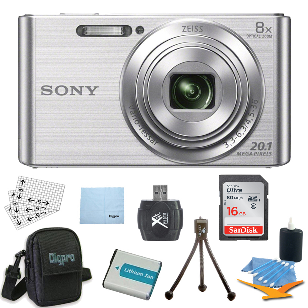 Sony DSCW830 DSCW830 W830 DSC-W830 DSC-W830 DSC-W830 20.1 Digital Camera w/ 2.7-Inch LCD (Silver) Bundle w/ 16GB Ultra SDHC Memory Card, Battery, Card Reader, Deluxe Carrying Case, Mini Tripod & More
