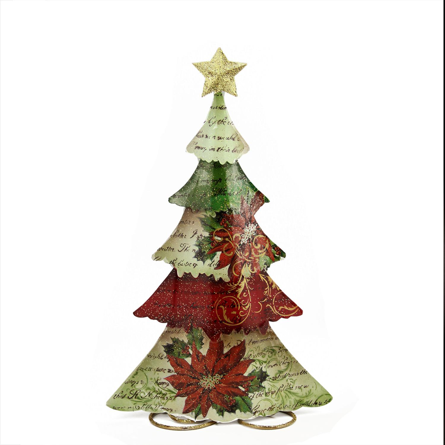 18 25 Green Red And Off White Tin Vintage Postcard Christmas Tree Table Top Christmas Decoration