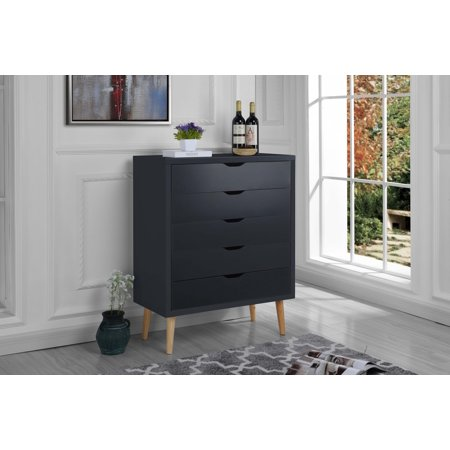 - Modern Chest Drawers, Entryway Décor with 5 Drawers, Dark Gray