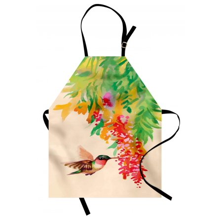- Hummingbird Apron Image of Colibri Bird and Flowers Exotic Tree Bloom in Watercolor Effect, Unisex Kitchen Bib Apron with Adjustable Neck for Cooking Baking Gardening, Green Red Beige, by Ambesonne