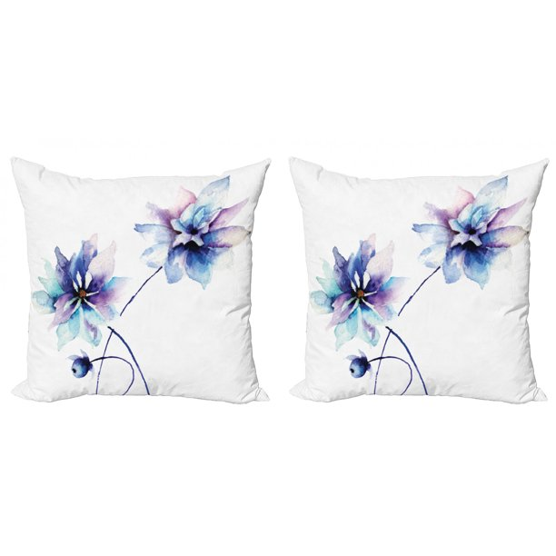 Watercolor Flower Throw Pillow Cushion Cover Pack Of 2 Flora Drawing Soft Spring Colors Retro Style Floral Artwork Zippered Double Side Digital Print 4 Sizes White Purple Blue By Ambesonne Walmart Com