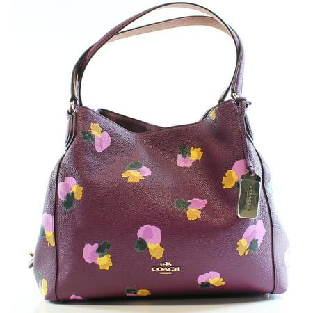 Coach coach new purple plum floral pebble leather edie shoulder coach new purple plum floral pebble leather edie shoulder bag purse mightylinksfo