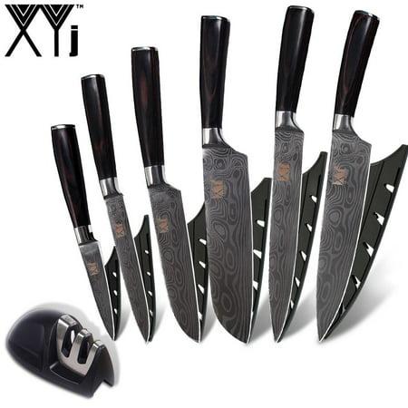 XYj MINI Knife Sharpener Stainless Steel Knife Imitation Damascus Pattern Blade Kitchen Knives 7 Piece