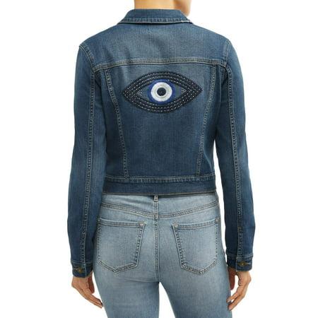 Head Embroidered Jacket - Sofia Jeans Marianella Evil Eye Embroidered Denim Jacket Women's