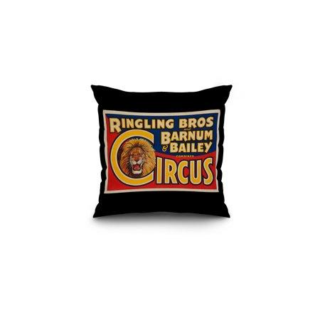 Bailey Block (USA - Ringling Bros and Barnum & Bailey Circus (lion head) - Vintage Advertisement (16x16 Spun Polyester Pillow, Black Border) )