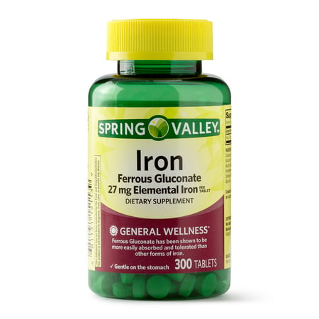 Spring Valley Iron Supplement, 27 mg, 300 Ct (Best Iron Supplement For Iron Deficiency Anemia)
