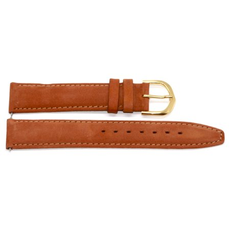 18mm Brown Genuine Leather Suede Stitched High Quality Watch Band Strap 18mm Brown Leather Bands Strap