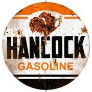 "Distressed Hancock Gasoline 14"" Round Metal Sign R140020"