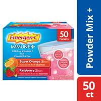 Emergen-C Immune+ Pack (50 Ct, Super Orange & Raspberry Flavors)