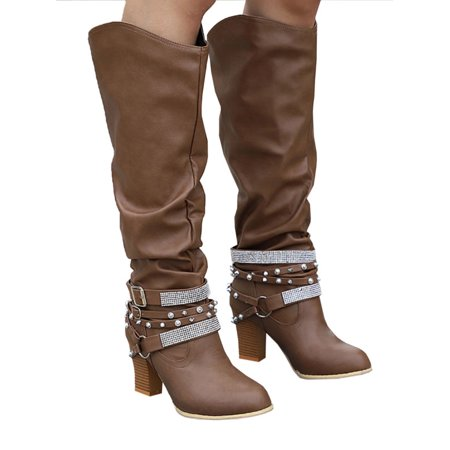 21682e4ce74 Womens Knee High Mid Block Heels Boots Ladies Winter Wide Leg Casual Shoes  - Walmart.com