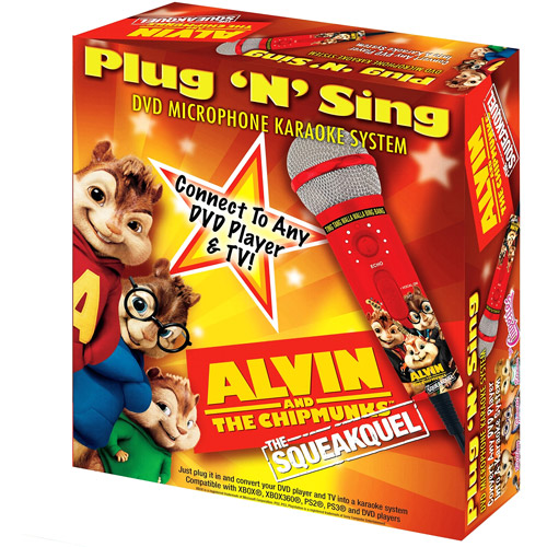Emerson Karaoke MM205A Alvin & The Chipmunks Plug 'n' Sing Microphone with 30 Songs on DVD