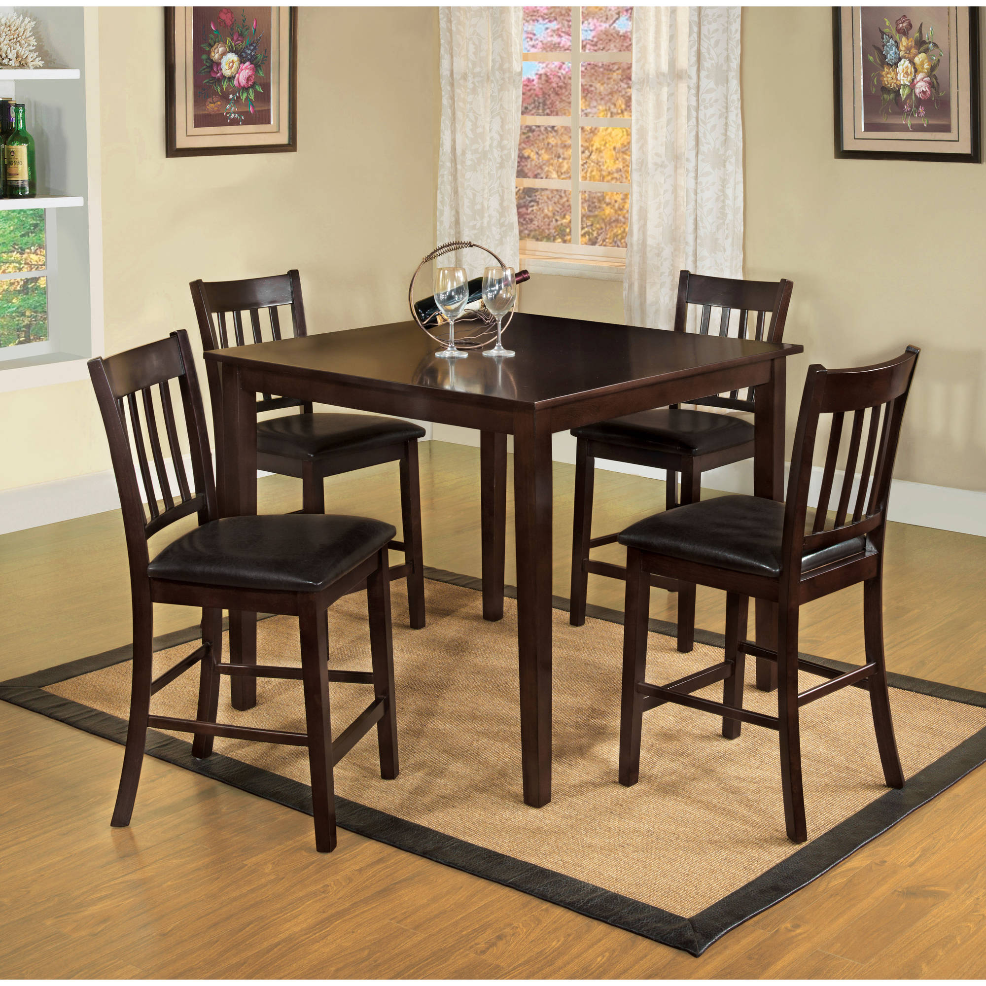 Furniture Of America Joan Transitional 5 Piece Counter Height Dining Set,  Espresso