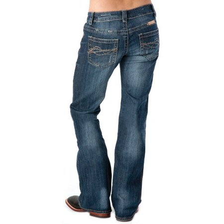 Cowgirl Tuff Co. Womens Dont Fence Me In Dark Stonewash Jeans