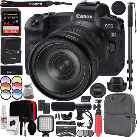 Canon EOS R Full-Frame Mirrorless Digital Camera (3075C012) with RF 24-105mm F4 L IS USM Lens Kit Including Deco Gear Photo Video Pro Backpack Case 77mm Filter Set Microphone Monopod