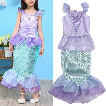 Kids Girl Little Mermaid Dress Sleeveless Bodycon Princess Fancy Dress Party Cosplay Costume](Tween Fancy Dresses)