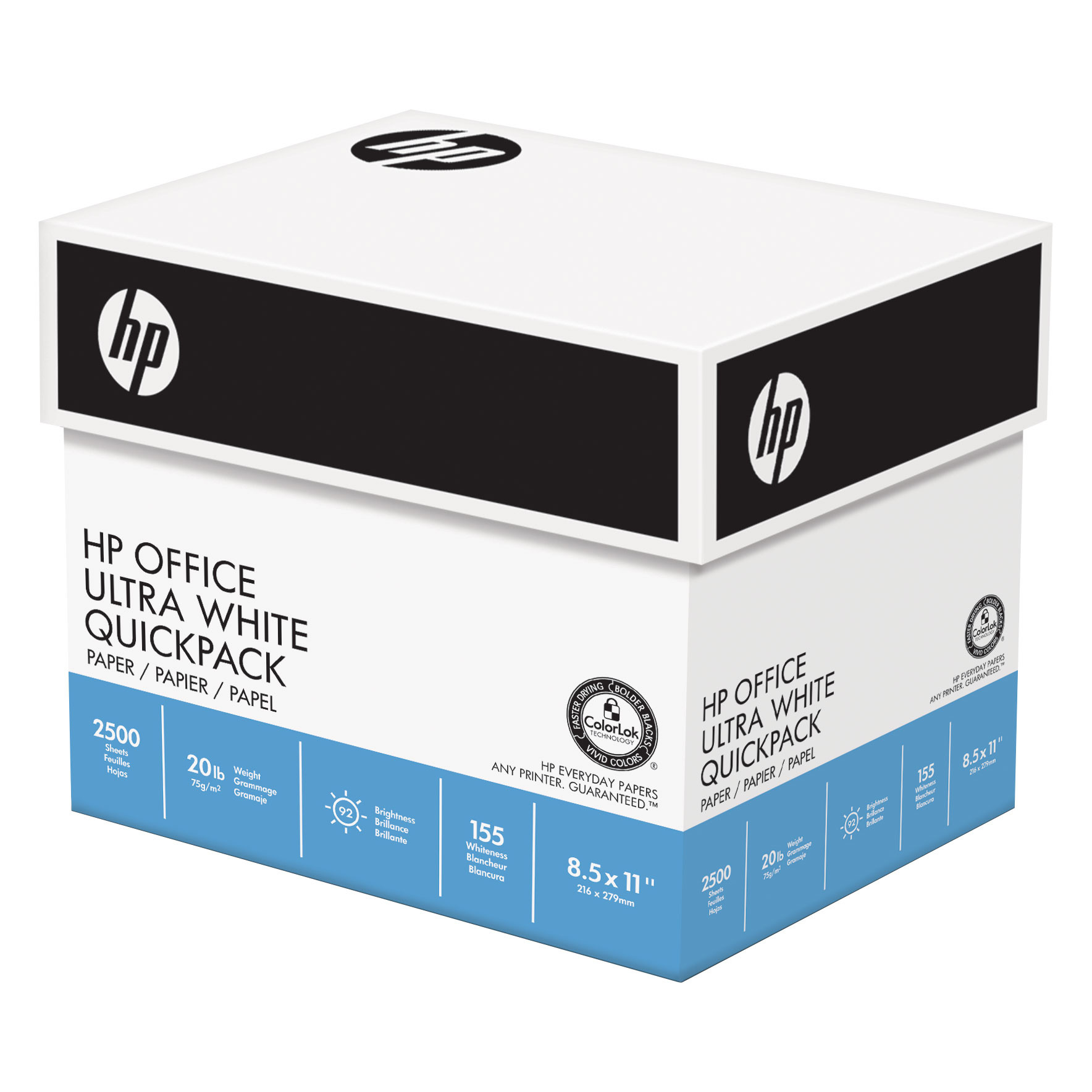 HP Office Ultra White Paper Quickpack Letter 20lb 92-Bright 2500ct