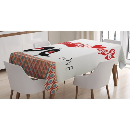 Heart Shape Drop (Love Tablecloth, Queen and King Bird Couple Kissing Hanging Heart Shapes and Abstract Drop Pattern, Rectangular Table Cover for Dining Room Kitchen, 60 X 90 Inches, Multicolor, by Ambesonne )