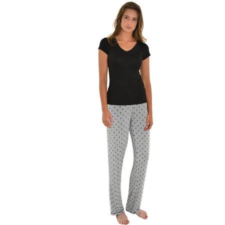 d8dc6476d6 Int Intimate - Womens Pajama Set Black T-shirt Skull Print PJ Pants 2 Piece Sleepwear  Set - Walmart.com