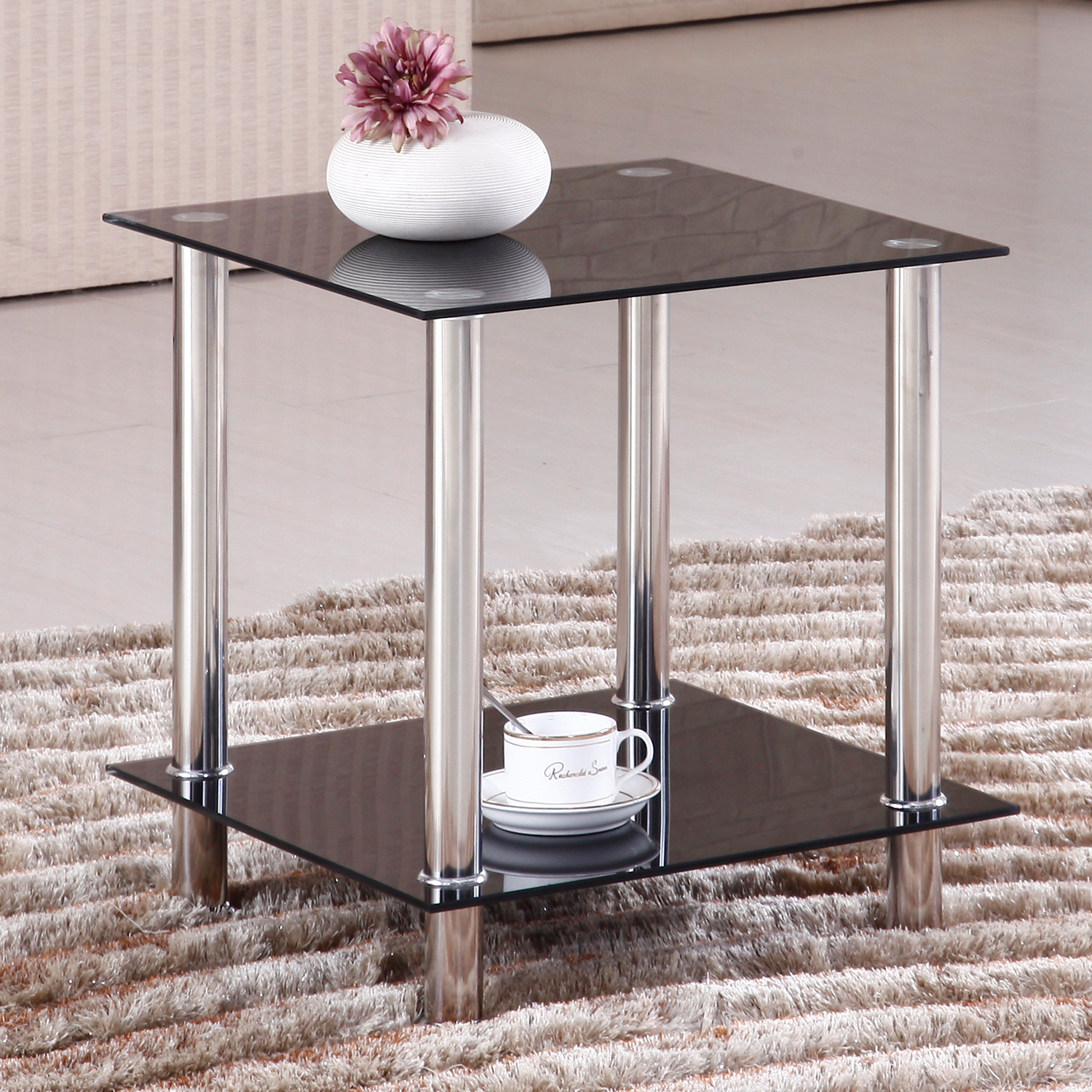Home Source Black Glass Rectangle Corner Occasional Table
