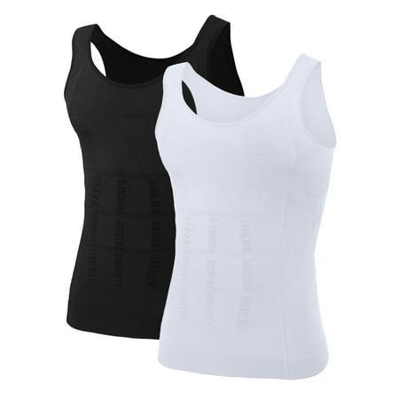 74ffb8117d TOPTIE - Men Slimming Body Shaper Compression Shirt Shapewear Sculpting  Vest Muscle Tank Bulk Sale-2 Pack - Black White-L - Walmart.com