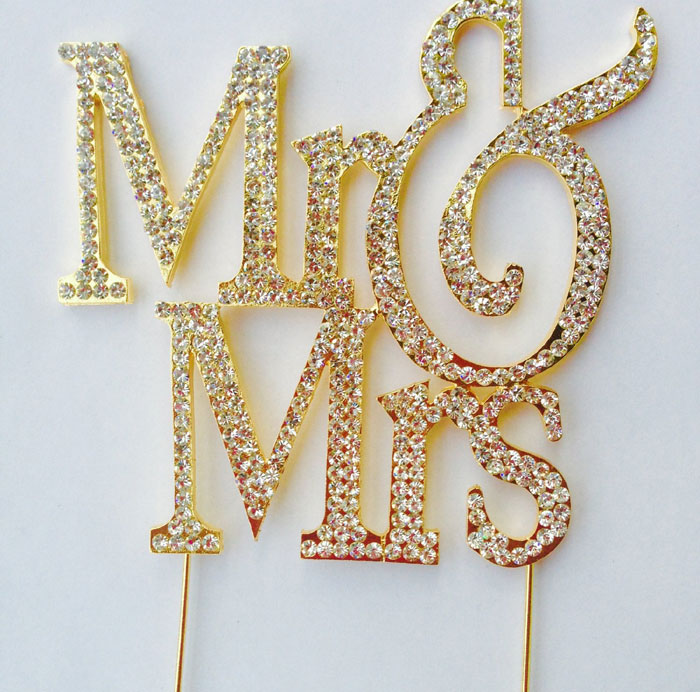 Crystal Cake Toppers Mr & Mrs Gold Rhinestone Wedding Cake Toppers Large