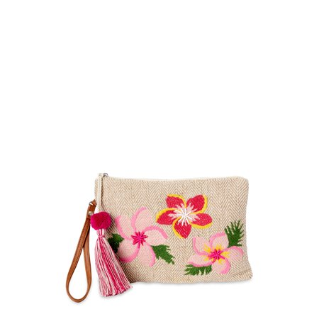 Time and Tru Women's Embroidered Flower Pouch