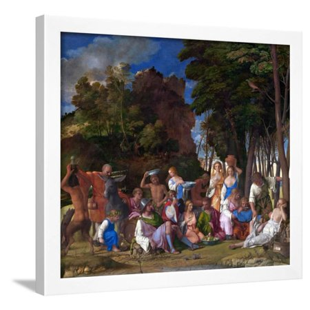 The Feast of the Gods by Giovanni Bellini and Titian Framed Print Wall Art By Giovanni Bellini amd Titian