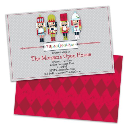 Personalized Nutcracker Christmas Party Invitation Blank Christmas Holiday Invitations