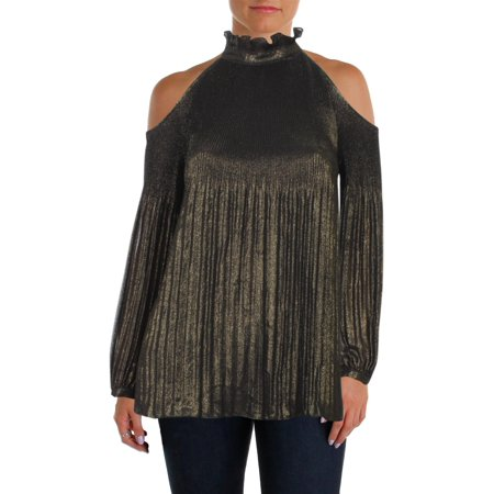 Lauren Ralph Lauren Womens Metallic Cold Shoulder Blouse
