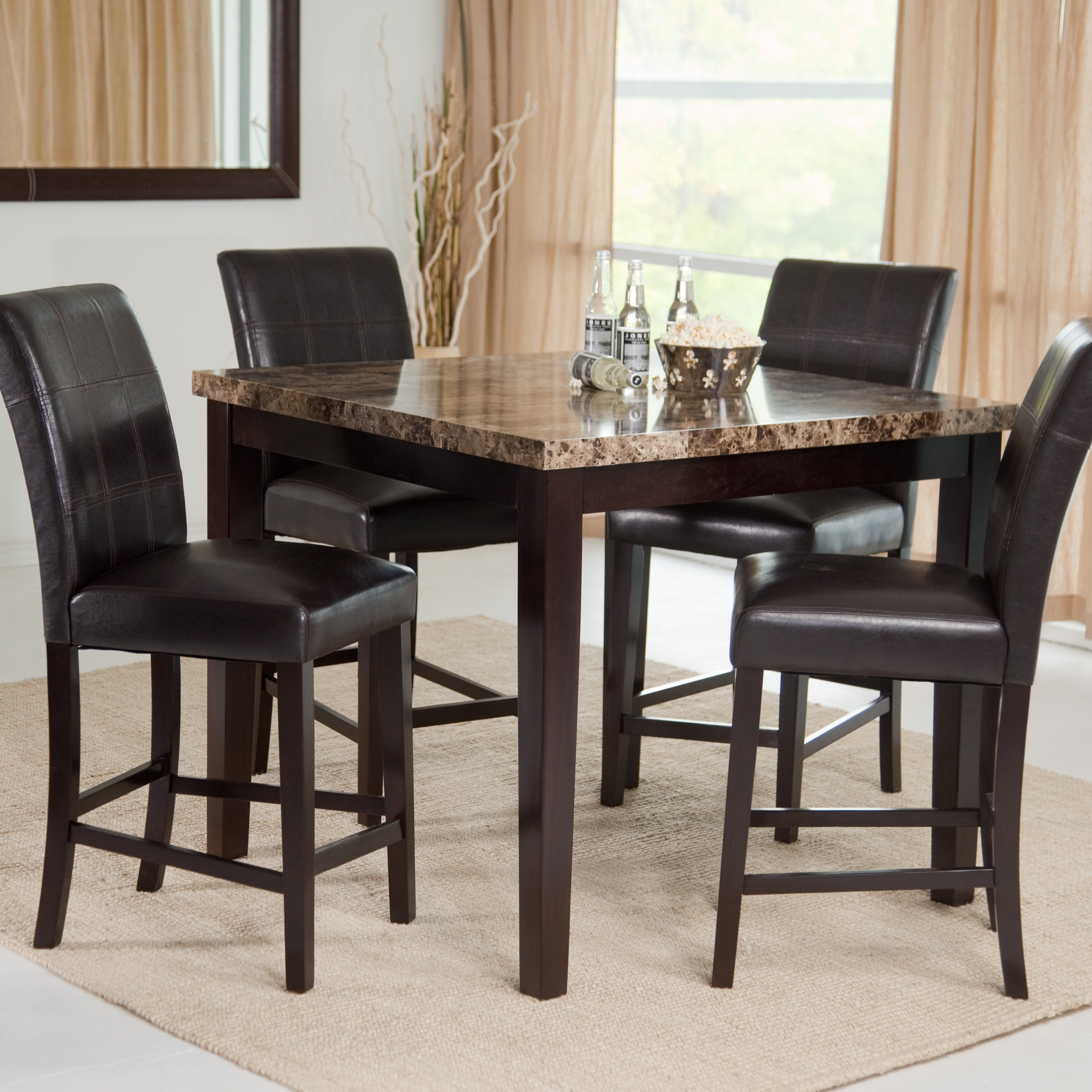 dining room table height furniture of america seline piece  - palazzo piece counter height dining set