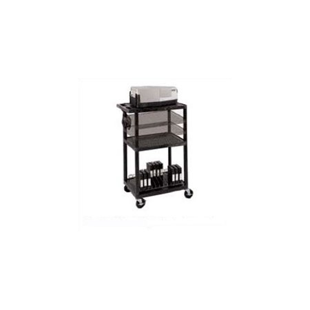 Luxor Multi-Height Open Shelf Table AV Cart with Locking Cabinet