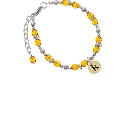 - Goldtone Disc 1/2'' Initial - k - Yellow Beaded Bracelet