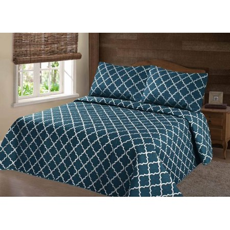 PERSIAN EYGYPTION COLLECTION QUEEN TURQUOISE WHITE LANCASTER GEOMETRIC CLOSOUT QUILT BEDDING BEDSPREAD COVERLET PILLOW CASES SET ()