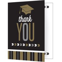Pack of 48 Brown and Black Glitzy Graduation Thank You Greeting Card 7.5""