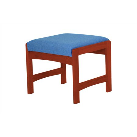 Upholstered Solid Wood Bench w Dark Red Mahogany Finish (Powder Blue)