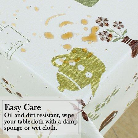 "Tablecloth PVC Rectangle Table Cover Oil Resistant Table Cloth 39"" x 63"", #5 - image 4 de 7"