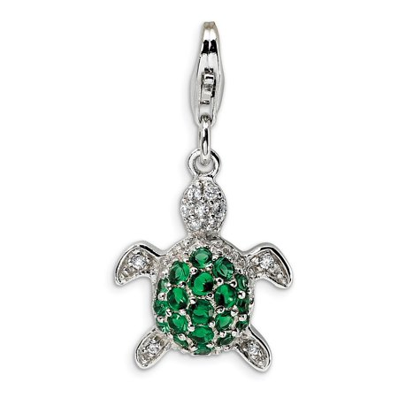 Green Snowman Charm (Sterling Silver Green and Clear Cubic Zirconia Turtle With Lobster Clasp Charm - Measures 30x15mm )