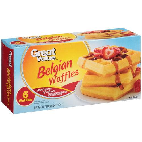 Great Value Belgian Waffles, 6 ct