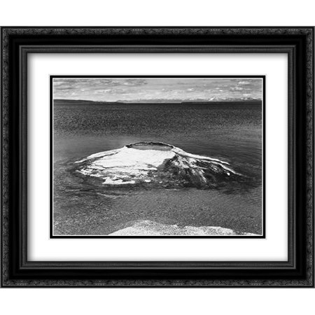 - The Fishing Cone - Yellowstone Lake, Yellowstone National Park, Wyoming, ca. 1941-1942 2x Matted 24x20 Black Ornate Framed Art Print by Adams, Ansel