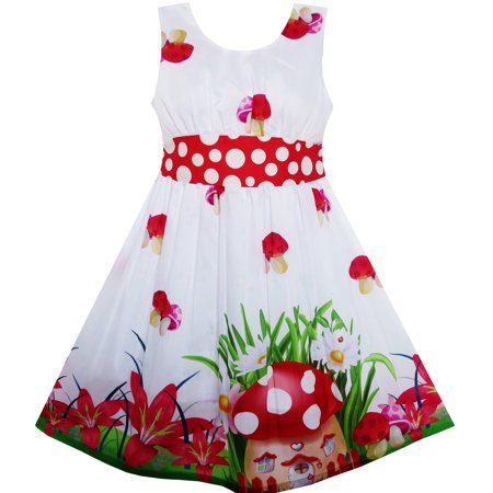 Sunny Fashion Girls Dress Mushroom Flower Grass Print Polka Dot Belt Red Size 4 12