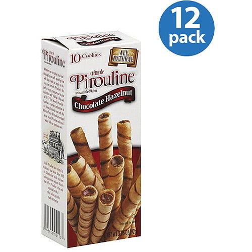 Creme de Pirouline Chocolate Hazelnut Artisan Rolled Wafers, 3.25 oz, (Pack of 12)