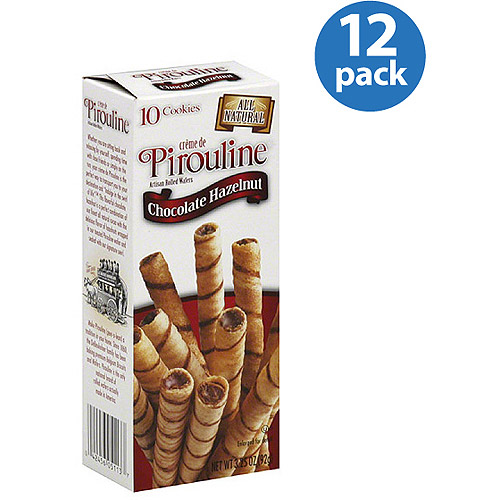 Creme de Pirouline Chocolate Hazelnut Artisan Rolled Wafers, 3.25 oz, (Pack of 12)