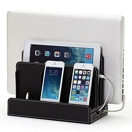 Black Leatherette Multi Device Charging Station And Dock