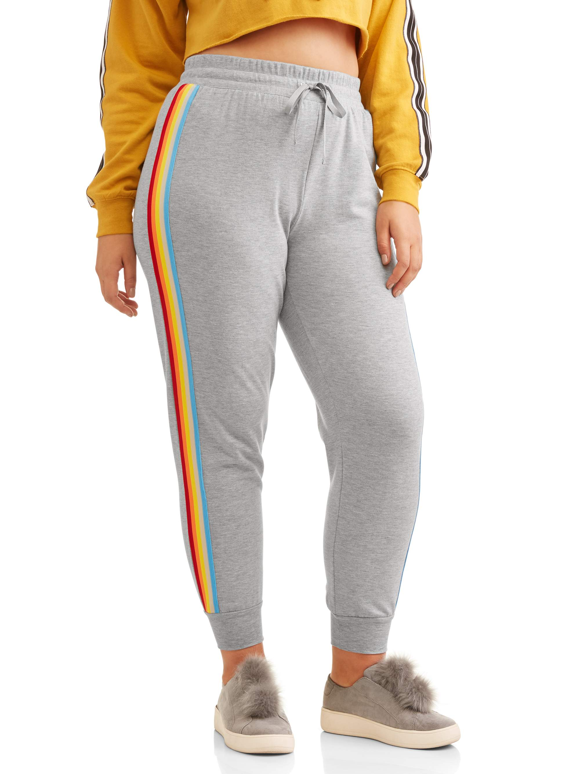Juniors' Plus Size French Terry Joggers with Multi Color Stripe