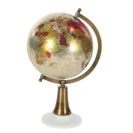 Decmode Contemporary 15 Inch Multicolored Plastic And Marble Globe, Multicolor
