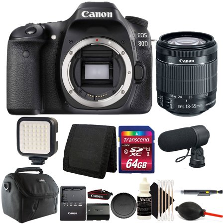 Canon EOS 80D 24.2MP DSLR Camera with 18-55mm Lens + 64GB Premium Video Bundle