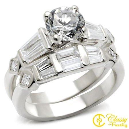 - Classy Not Trashy® Size 10 Wedding Clear Cubic Zirconia Brass Rhodium Ring